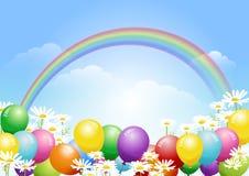 El fondo del cielo azul con los globos y la margarita florece