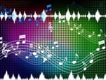 El fondo del color de la música muestra los sonidos Harmony And Singing Imagenes de archivo