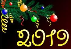 El fondo del día de fiesta con deseos de la estación y la frontera de las ramas de árbol de navidad de mirada realistas adornó libre illustration