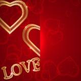 El fondo del día de tarjetas del día de San Valentín con los cordones del oro y oye libre illustration