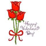 El fondo del día de tarjetas del día de San Valentín con Rose ató en cinta Foto de archivo