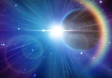El fondo del eclipse solar con las estrellas y la lente señalan por medio de luces stock de ilustración
