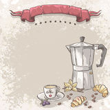 El fondo del ejemplo con café, la taza de café, los cruasanes, las zarzamoras y la vainilla florecen Imagen de archivo