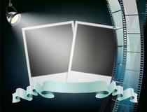 El fondo del álbum de foto, estudio se enciende, tira de película ondulada Fotografía de archivo