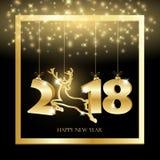 El fondo del negro del Año Nuevo con la ejecución del oro numera stock de ilustración