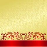 El fondo del oro adornó un ornamento del vintage. Fotos de archivo