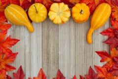 El fondo del otoño con las calabazas y caída se va en la madera resistida Fotos de archivo