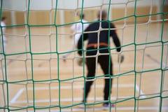 El fondo del portero futsal Imagen de archivo libre de regalías