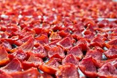 El fondo del primer de tomates rojos corta la sequedad al aire libre en el día soleado Fotografía de archivo