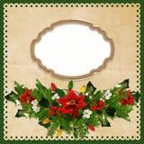 El fondo del saludo de la Navidad con el marco, pino ramifica, poinsetia, ramas de las bayas, guirnalda se enciende ilustración del vector