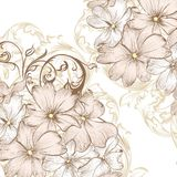 El fondo del vector de la boda con la mano dibujada estilizó las flores en re Imagen de archivo