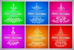 El fondo del vector de la Feliz Año Nuevo y de la Feliz Navidad fijó con el pino del copo de nieve del ornamento Fotos de archivo