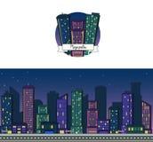 El fondo del vector de la noche y el icono de un rascacielos céntrico de la ciudad grande moderna contienen el horizonte para el  Ilustración del Vector