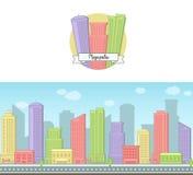 El fondo del vector del día soleado y el icono brillantes de un rascacielos céntrico de la ciudad grande moderna contienen el hor Libre Illustration