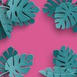 El fondo del verano con el papel cortó las hojas tropicales, diseño floral exótico para la bandera, aviador, invitación, cartel,  stock de ilustración