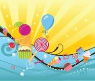 El fondo del verano con los dulces y helado Fotografía de archivo libre de regalías