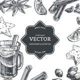 El fondo del vintage del vector con el vino reflexionado sobre en taza y los ingredientes para él aisló en blanco Textura exhaust fotos de archivo