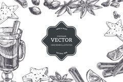 El fondo del vintage del vector con el vino reflexionado sobre en taza y los ingredientes para él aisló en blanco Textura exhaust fotografía de archivo libre de regalías
