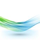 El fondo, el azul y el verde abstractos del vector agitaron las líneas para el folleto, sitio web, diseño del aviador ilustración del vector