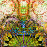 El fondo exótico extranjero abstracto de la flor con tentáculo vivo brillante decorativo le gusta el estampado de plores Fotografía de archivo