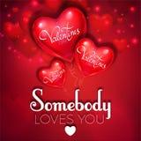 El fondo feliz del día del ` s de la tarjeta del día de San Valentín con el corazón rojo colorido y brillante de la hoja hincha I ilustración del vector
