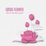 El fondo floral abstracto con rosa del loto florece, oriental Foto de archivo