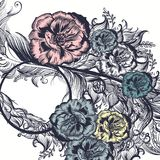 El fondo floral con las rosas remolina para el diseño Imagen de archivo
