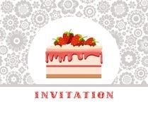 El fondo floral de la invitación, de la torta de la fresa, blanco y gris, vector Imágenes de archivo libres de regalías