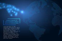 El fondo, el futuro ha venido La mano poligonal presiona el finger en la tierra del planeta Internet, redes sociales ilustración del vector
