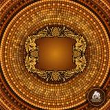 El fondo geométrico de la teja griega redonda con las uvas enmarca en el centro stock de ilustración