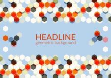 El fondo geométrico horizontal de moda multicolor, hexágonos resume el campo del modelo stock de ilustración