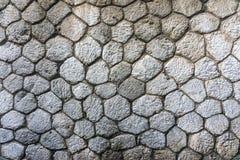 El fondo gris hexagonal rústico de la textura de la pared de piedra Foto de archivo