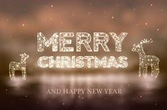 El fondo hermoso del bokeh de la Navidad con aligera el reno ilustración del vector