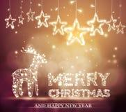 El fondo hermoso del bokeh de la Navidad con aligera el reno libre illustration
