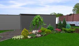 El fondo hortícola del patio trasero, 3d rinde stock de ilustración