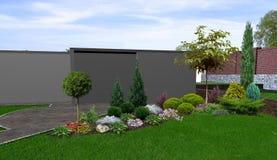 El fondo hortícola del patio trasero, 3d rinde ilustración del vector