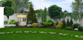 El fondo hortícola del patio trasero, 3d rinde libre illustration