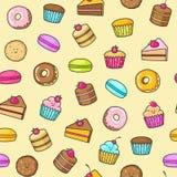 El fondo inconsútil de Kawaii del dulce y el postre garabatean, torta linda, Donato dulce, las galletas de la historieta y macaro stock de ilustración