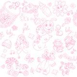 El fondo inconsútil su una muchacha con los juguetes doodle Imágenes de archivo libres de regalías