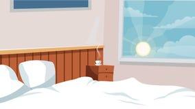 El fondo interior del vector del dormitorio casero para la historieta, animación, hace publicidad, hace campaña Imágenes de archivo libres de regalías