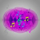 El fondo púrpura de la música muestra el disco o el estallido del CD Foto de archivo libre de regalías