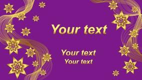 El fondo púrpura hermoso con oro agita y protagoniza 2 Fotos de archivo