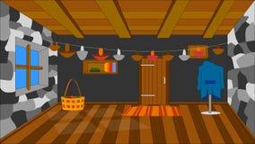 El fondo para la animación, casa del erizo stock de ilustración
