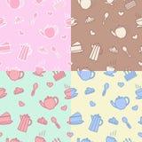 El fondo para la cafetería y los pasteles: una variedad de dulces, café, té ilustración del vector