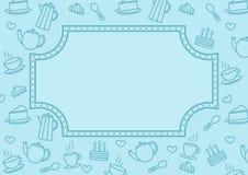 El fondo para la cafetería y los pasteles: una variedad de dulces, café, té libre illustration