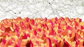 El fondo poligonal del mosaico con la cima, puntos en la historieta 3D moderno diseña Superficie polivinílica baja roja de transf libre illustration