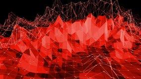 El fondo poligonal del mosaico con la cima, puntos en la historieta 3D moderno diseña Superficie polivinílica baja roja de transf ilustración del vector
