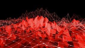 El fondo poligonal del mosaico con la cima, puntos en la historieta 3D moderno diseña Superficie polivinílica baja roja de transf almacen de metraje de vídeo