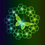 El fondo que brilla intensamente con las mariposas mágicas y chispear florece fotos de archivo