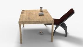 El fondo que consiste en las pertenencia viejas y modernas, representación 3d ilustración del vector